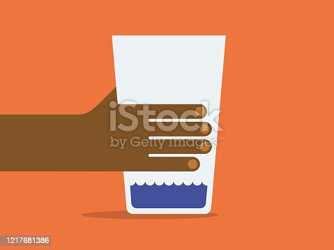 istock Illustration of hand holding glass of water 1217681386