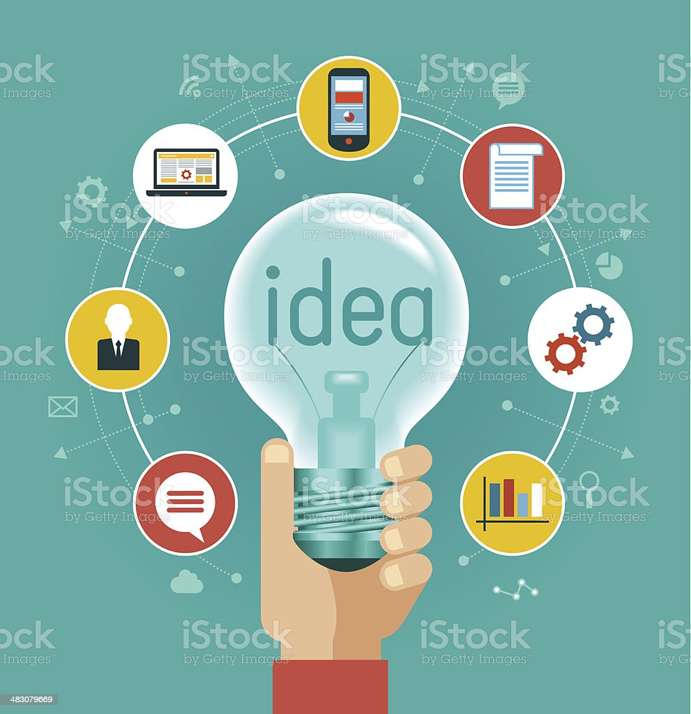 Illustration of hand holding light bulb with icons vector art illustration