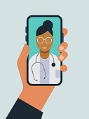istock Illustration of hand holding smart phone with doctor on screen during telemedicine doctor visit 1214808820