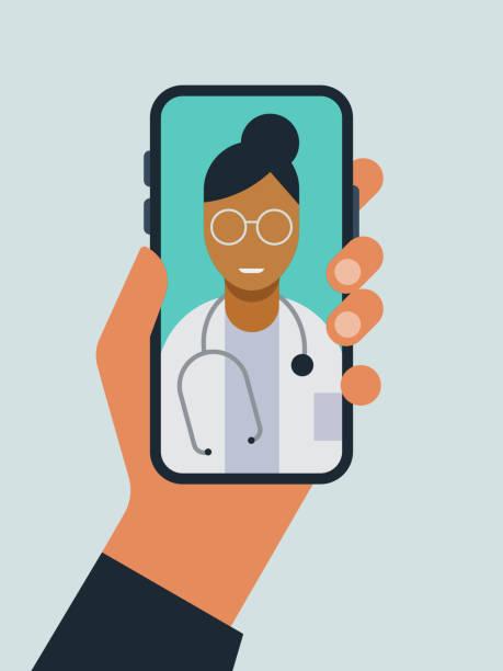 ilustraciones, imágenes clip art, dibujos animados e iconos de stock de ilustración de la mano sosteniendo el teléfono inteligente con el médico en la pantalla durante la visita al médico de telemedicina - telehealth