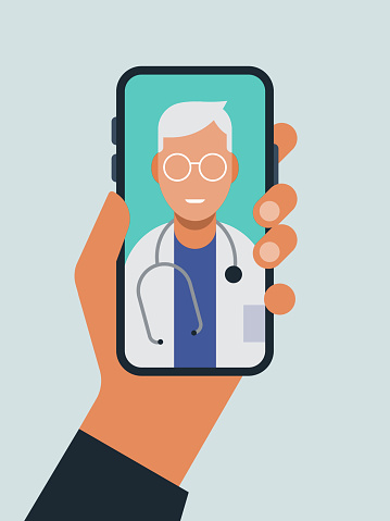 Illustration of hand holding smart phone with doctor on screen during telemedicine doctor visit