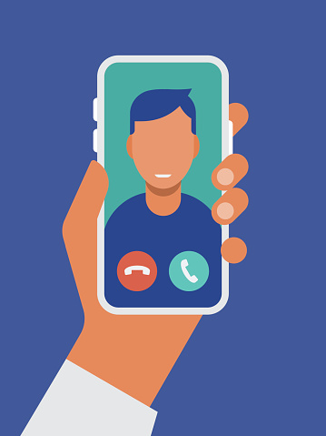 Illustration of hand holding smart phone with video call on screen