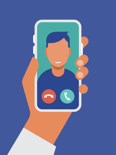 ilustracja przedstawiająca trzymanie smartfona za pomocą połączenia wideo na ekranie - ręka człowieka stock illustrations