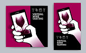 istock Illustration of hand holding smartphone and drawing of a glass of red wine. Idea for online wine event. Concept for wine tasting from home. 1280175027