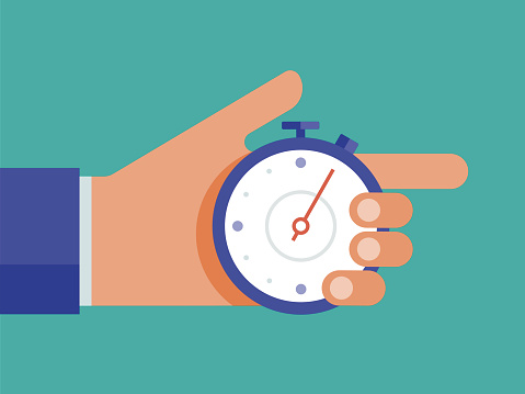 Illustration of hand holding stop watch