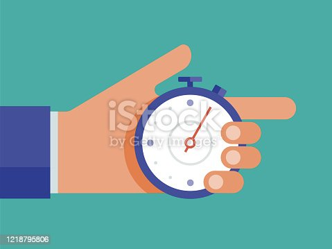 istock Illustration of hand holding stop watch 1218795806