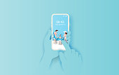 illustration of Hand holds smartphone with summertime application. Summer season with Rear view family happy concept idea. Creative design paper cut and craft on pastel color background. Vector. Eps10