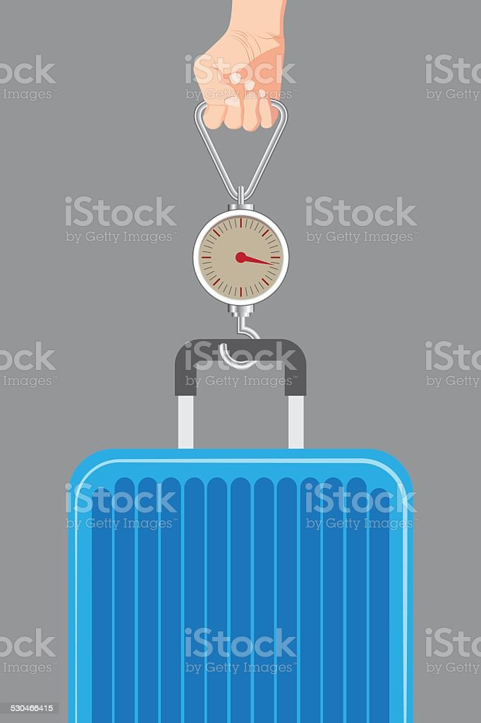 illustration of Hand luggage measurement using steelyard weight vector. vector art illustration