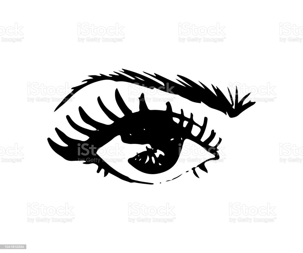 Illustration Of Handdrawn Womans Eye With Shaped Eyebrows And Full