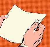 Illustration of hands holding a paper sheet