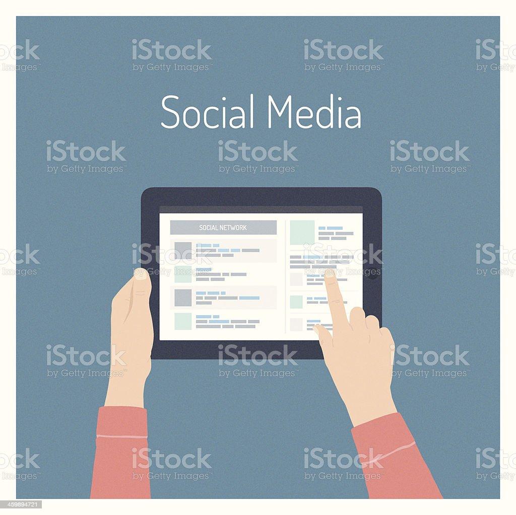 Illustration of hands holding a tablet PC vector art illustration