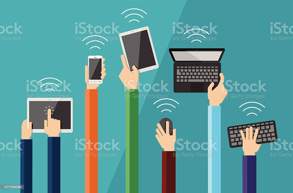 Illustration of hands holding hi tech devices vector art illustration