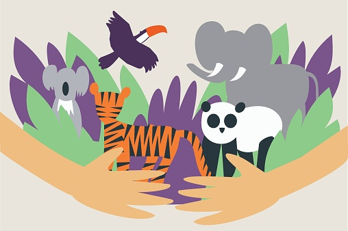 Illustration of hands hugging and protecting wild animals from extinction - Global animal and envirnmental conservation
