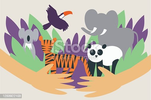Illustration of hands hugging and protecting wild animals from extinction - Global animal and environmental conservation - Veganism