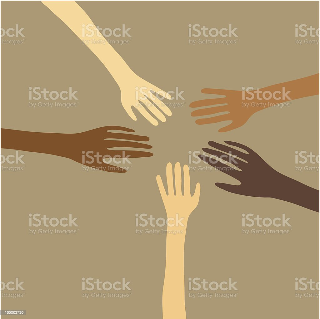 Illustration of hands in a circle about to touch each other royalty-free stock vector art