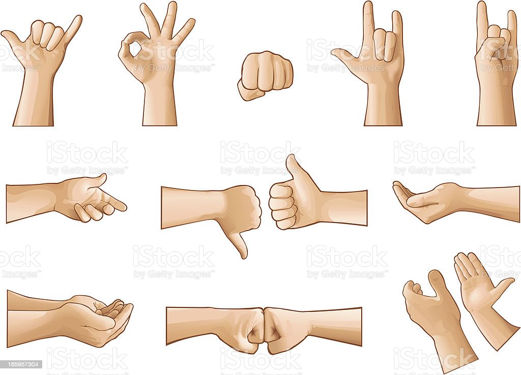 Illustration of hands making different gestures royalty-free stock vector art