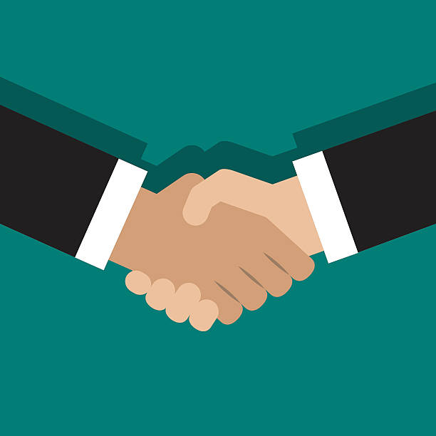 illustration of handshake Vector illustration of handshake. Flat style design shaking stock illustrations