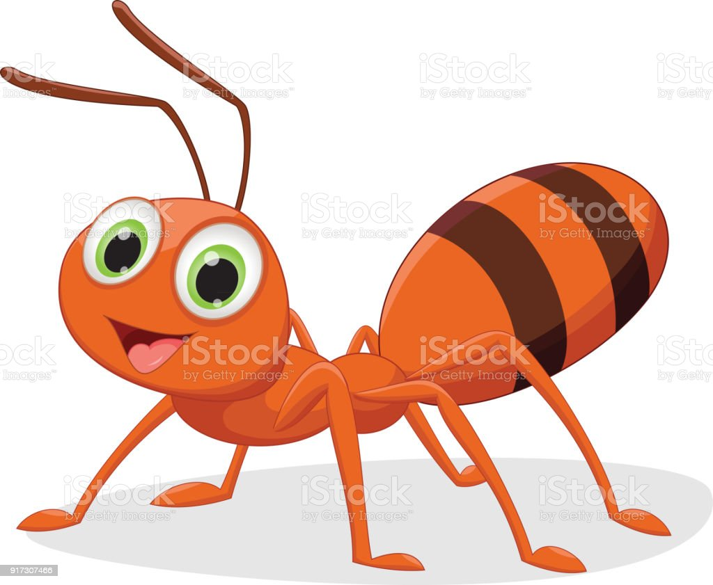illustration of happy ant cartoon vector art illustration