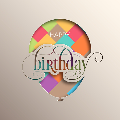Illustration of happy birthday with beautiful calligraphy.