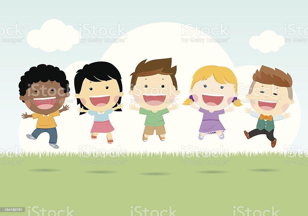 Illustration of happy children vector art illustration