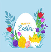 istock Illustration of Happy Easter Holiday 1305482060