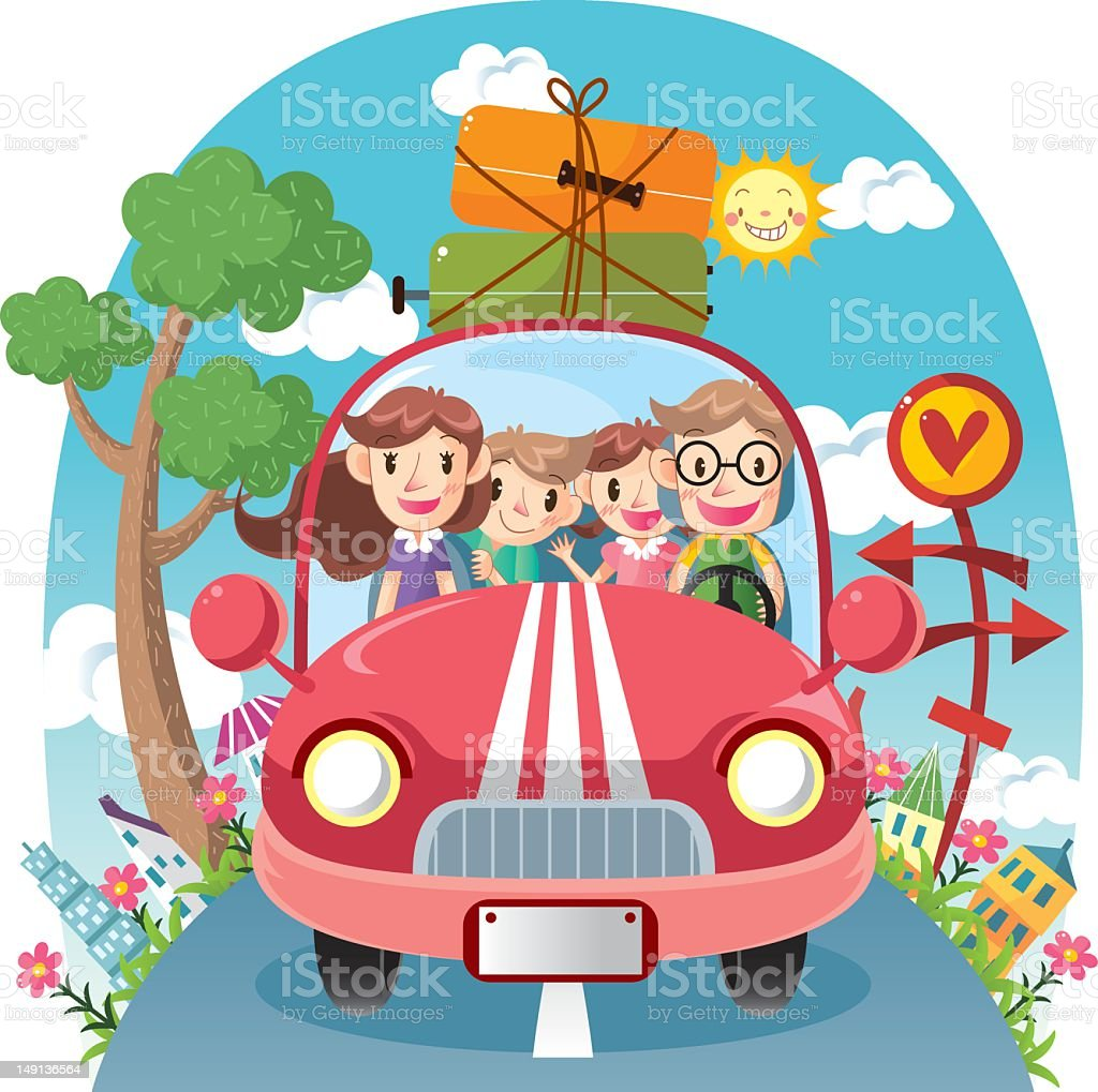 Illustration of happy family traveling in car on road trip vector art illustration