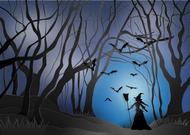 illustrazioni stock, clip art, cartoni animati e icone di tendenza di illustration of happy halloween, witches in a scary dark mystery forest. paper art and digital craft style. - woman portrait forest