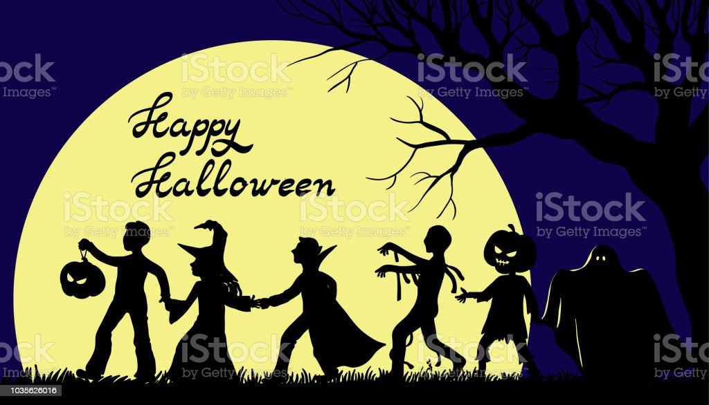 Cadılar Bayramın kutlu olsun illüstrasyon çocuklu tatil karakter kostümleri - Royalty-free Ay - Gökyüzü Vector Art