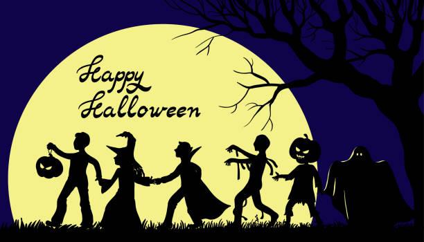 cadılar bayramın kutlu olsun illüstrasyon çocuklu tatil karakter kostümleri - geçit töreni stock illustrations