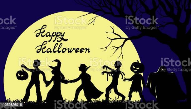 Cadılar Bayramın Kutlu Olsun Illüstrasyon Çocuklu Tatil Karakter Kostümleri Stok Vektör Sanatı & Ay - Gökyüzü'nin Daha Fazla Görseli