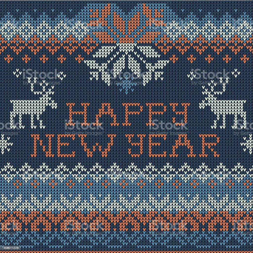 Illustration of Happy New Year: Scandinavian style seamless knit royalty-free stock vector art