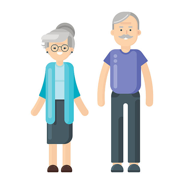 illustration of happy smiling senior couple. - old man glasses silhouettes stock illustrations, clip art, cartoons, & icons