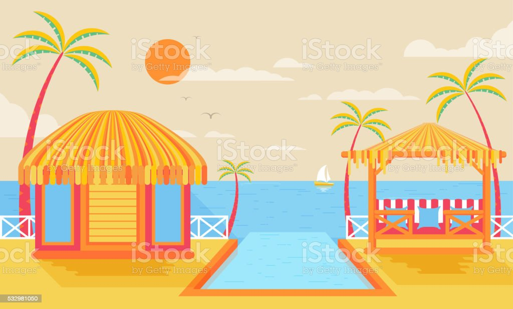 illustration of happy sunny summer day at beach, bungalows on vector art illustration