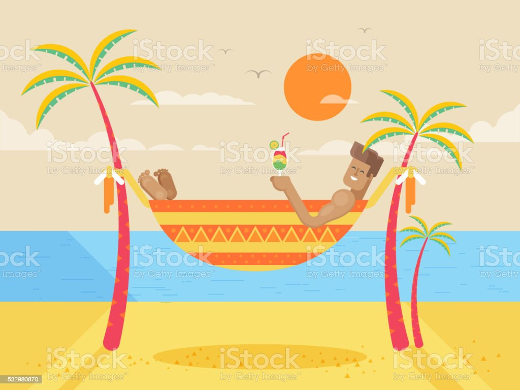 illustration of happy sunny summer day at beach with tanned vector art illustration