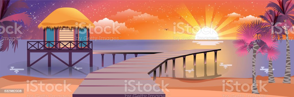 illustration of happy sunny summer night at beach with bungalows vector art illustration