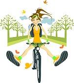A cheerful girl on a bike. Eps and hi-res jpg.