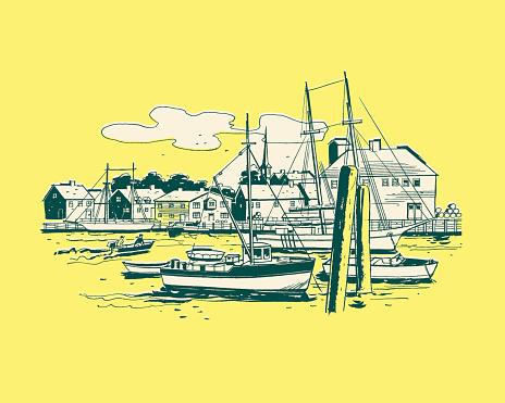 Illustration of harbor