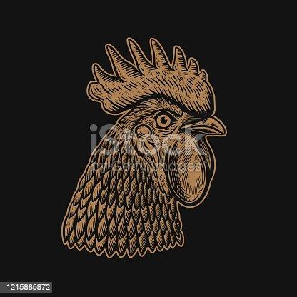 istock Illustration of head of rooster in engraving style. Design element for label, sign, emblem, poster. Vector illustration 1215865872
