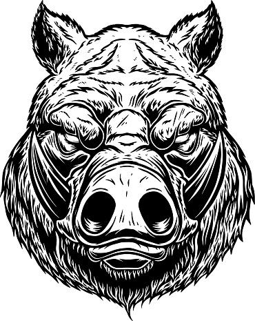 Illustration of head of wild angry boar in vintage monochrome style. Design element for emblem, sign, poster, card, banner. Vector illustration