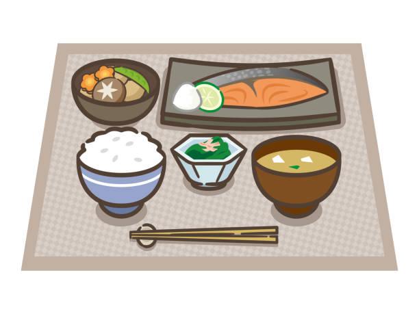 健康的な日本食のイラスト - 和食点のイラスト素材/クリップアート素材/マンガ素材/アイコン素材