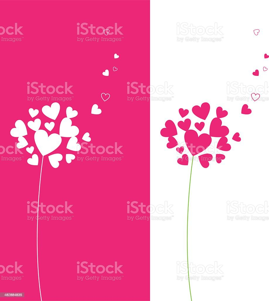 Illustration of heart flower in two colorways royalty-free stock vector art
