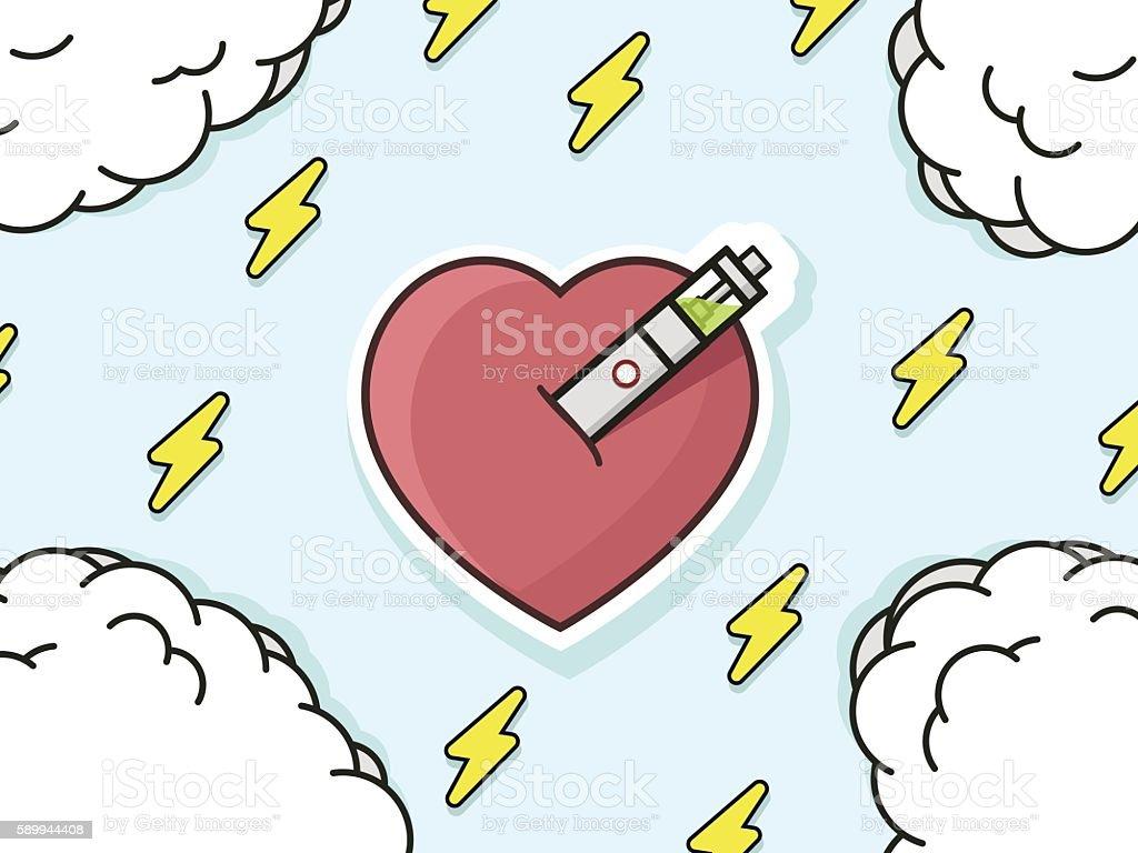 Illustration of heart pierced of electronic cigarette, vaping love vector art illustration