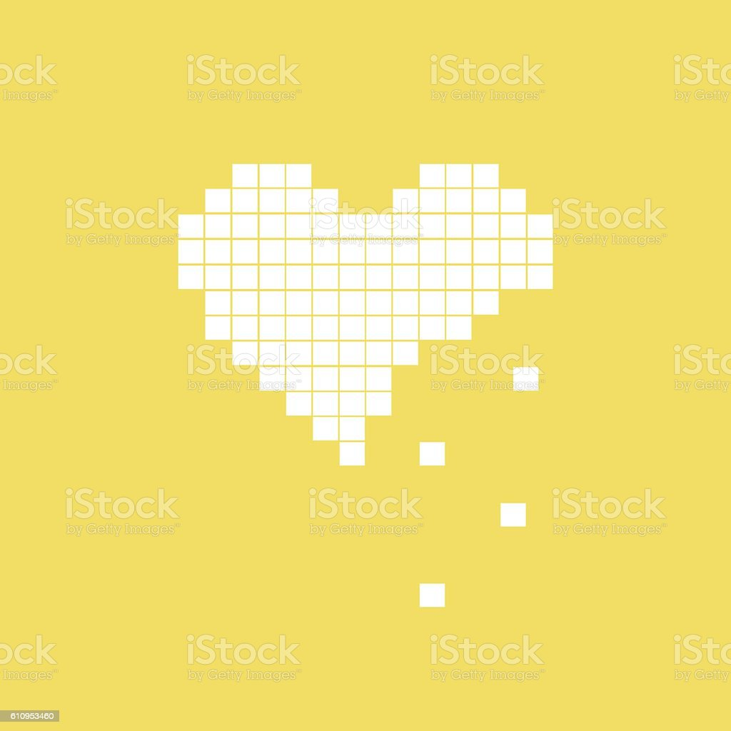 illustration of heart symbol in pixel art style vector art illustration