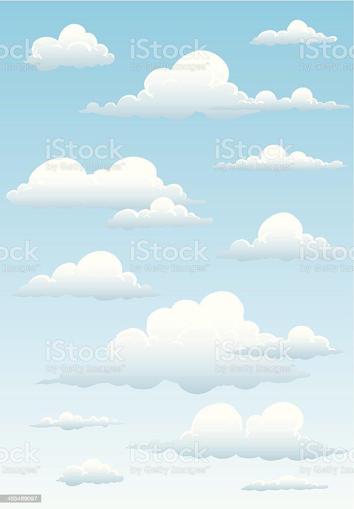 Illustration of high clouds in a blue sky vector art illustration