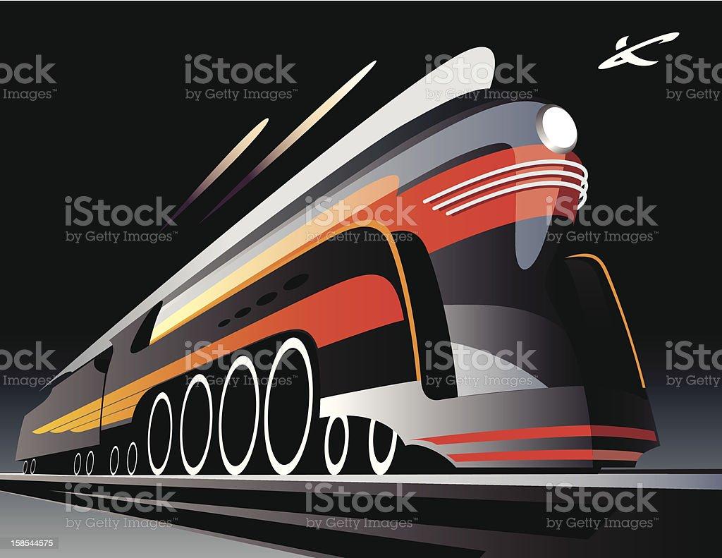 Illustration of high speed locomotive in motion vector art illustration