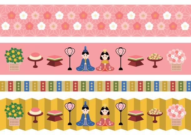 Illustration of Hinamatsuri(the Doll's Festival of Japan) Illustration of Hinamatsuri(the Doll's Festival of Japan) peach blossom stock illustrations