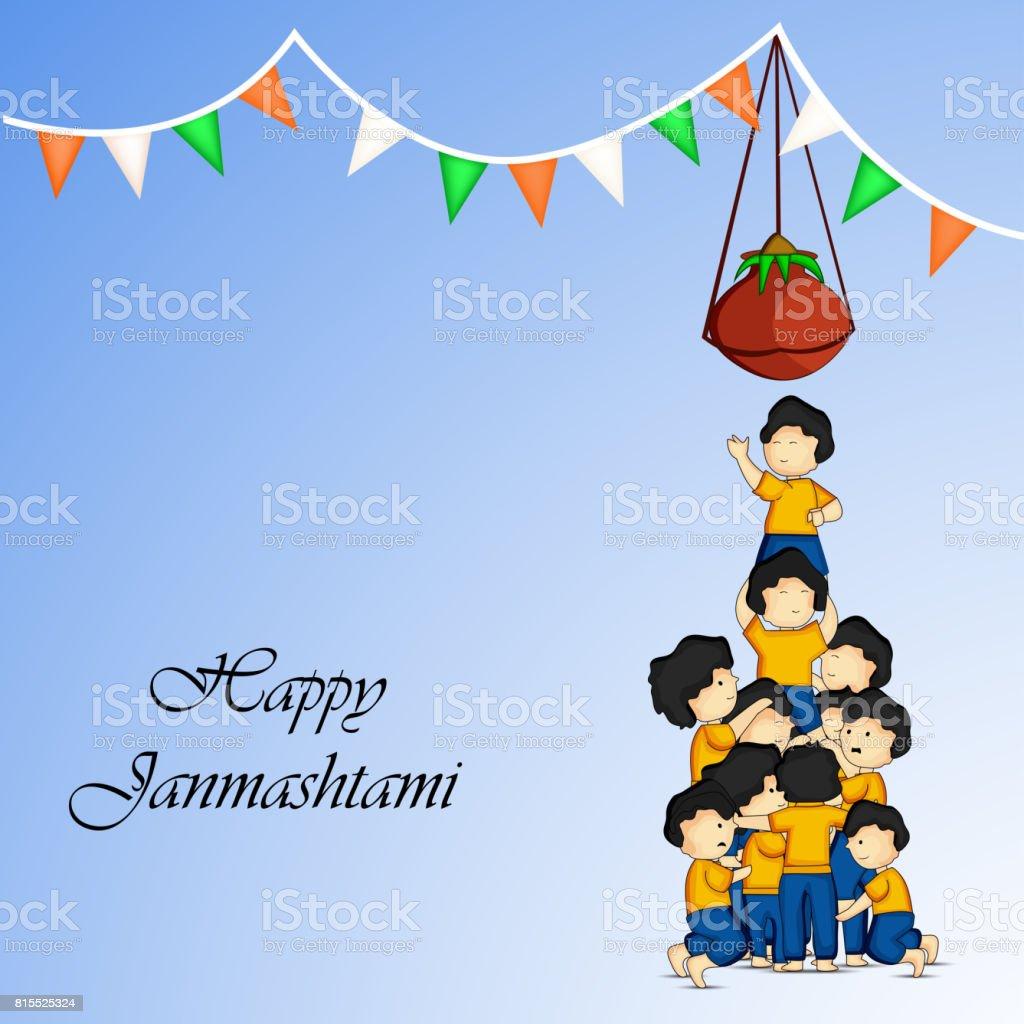 Illustration Of Hindu Festival Janmashtami Background Stock