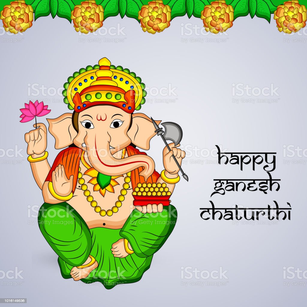 illustration of background for Hindu God Ganesh for the occasion of...