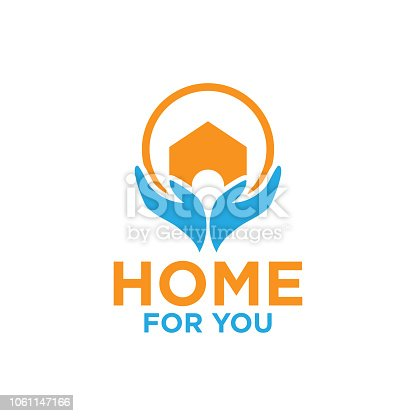 istock Illustration of home and hand logo design template 1061147166
