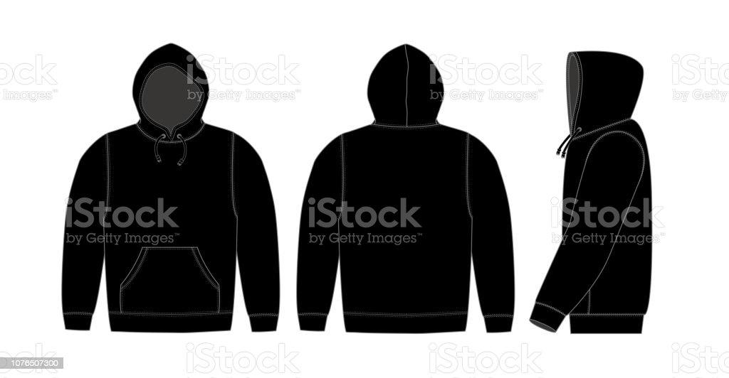 Illustration of hoodie (hooded sweatshirt) / black vector art illustration